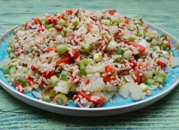 Rijstsalade met gegrilde paprika's