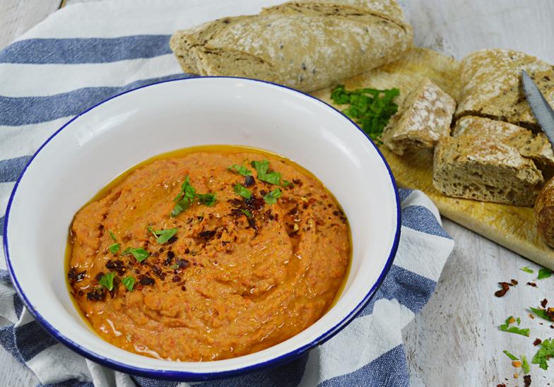 Pittige paprika hummus