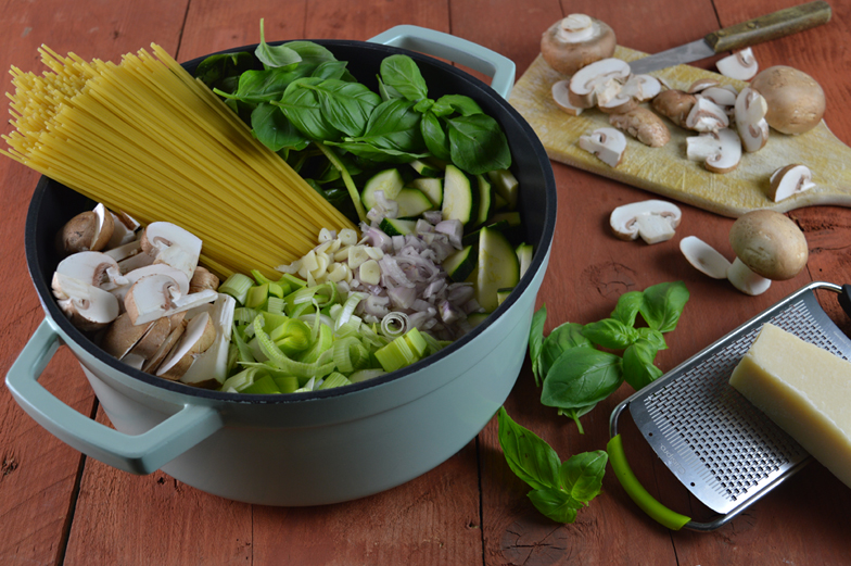 One pot pasta met prei