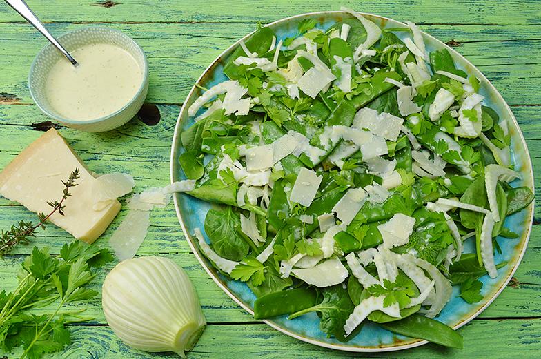 Groene salade met venkel en peultjes