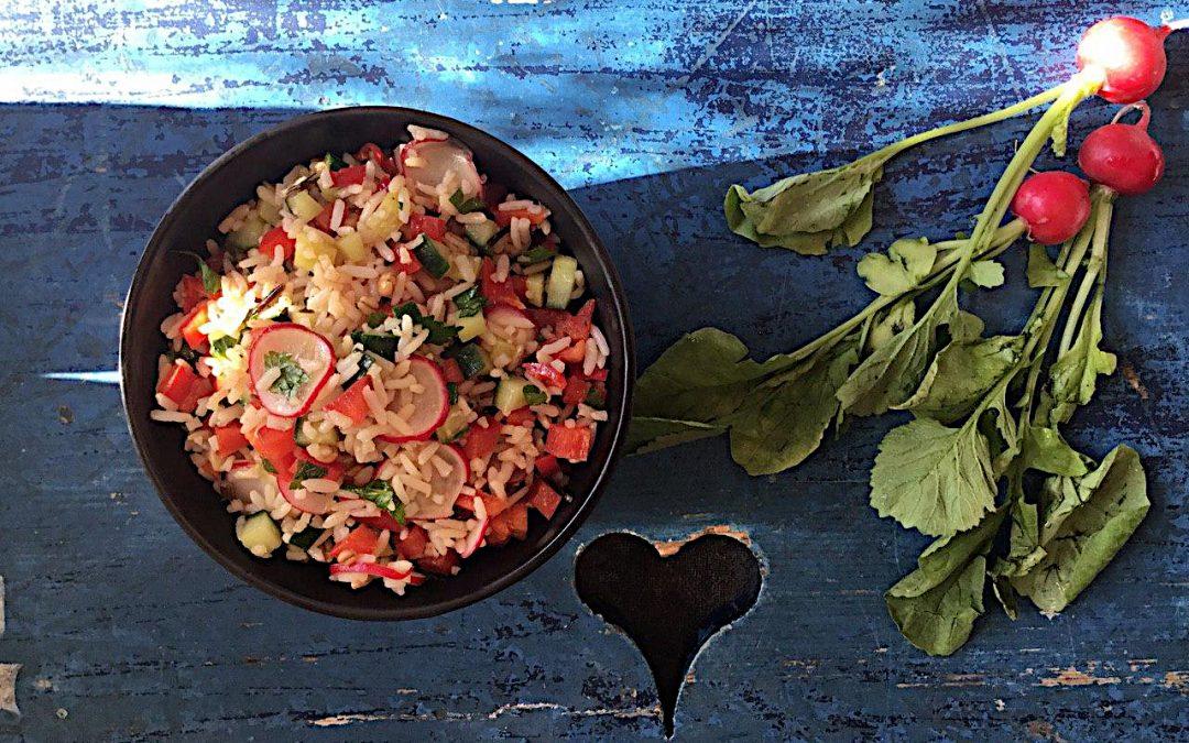 Een lekkere frisse en pittige salade van wilde rijst en een oosterse dressing.