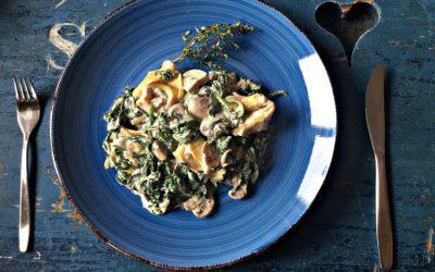 Tortellini met spinazie-roomsaus