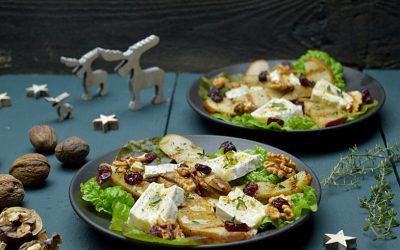 Salade met gegrilde peer en brie