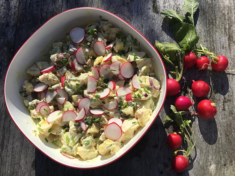Aardappelsalade met mosterddressing